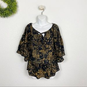 Paisley Bell Sleeve Tie Front Peasant Blouse S